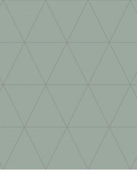 Papier peint géométrique Lutece City Chic Triangle argent fond vert gris 347714