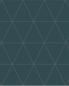 Papier peint géométrique Lutece City Chic Triangle argent fond bleu 347715