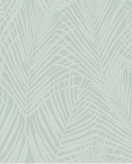 Papier peint exotique Origin City Chic Feuilles de palmiers vert grisé nacré 347742