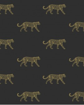 Papier peint exotique Origin City Chic Leopards noir et or 347686