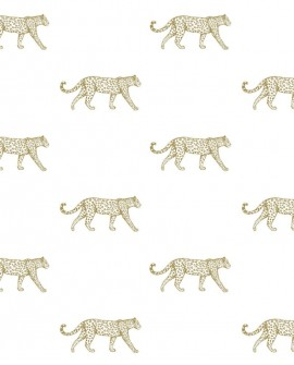 Papier peint exotique Origin City Chic Leopards blanc et or 347685