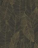 Papier peint exotique Black, White and Gold Esta Home Feuilles noir et or 139126