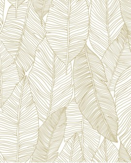 Papier peint exotique Black, White and Gold Esta Home Feuilles blanc et or 139125