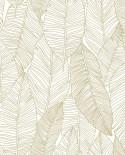 Papier peint exotique Black, White and Gold Esta Home Feuilles blanc et or 139125