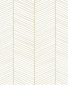 Papier peint exotique Black, White and Gold Esta Home Chevrons blanc et or 139135