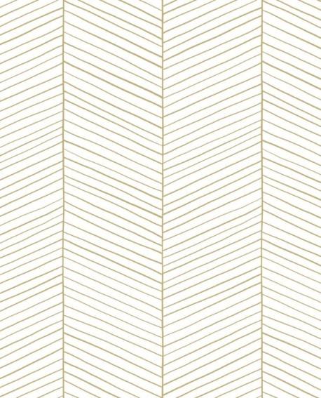 Papier peint exotique Black, White and Gold Esta Home Chevrons blanc et or 139135