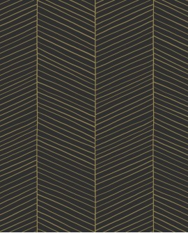 Papier peint exotique Black, White and Gold Esta Home Chevrons noir et or 139136