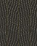 Papier peint exotique Black, White and Gold Esta Home Chevrons noir et or 139136