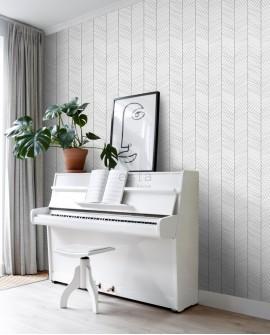 Papier peint exotique Black, White and Gold Esta Home Chevrons noir et blanc 139106