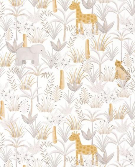 Papier peint enfant Jungle Casadeco Rose & Nino Leon Beige RONI85641618