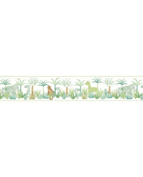 Frise enfant Jungle Casadeco Rose & Nino Leon Vert RONI85657588