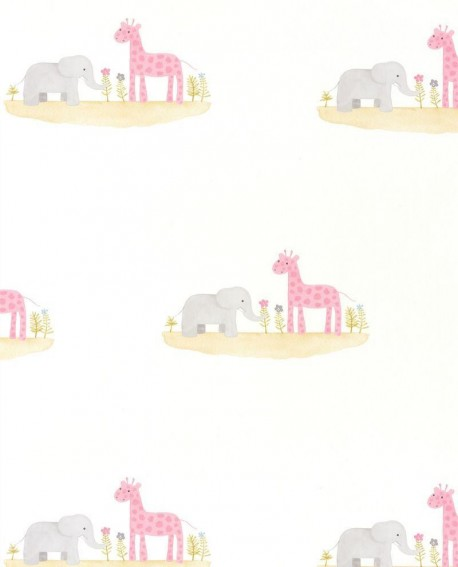Papier peint enfant Jungle Casadeco Rose & Nino Marius et Candice Rose RONI85534112
