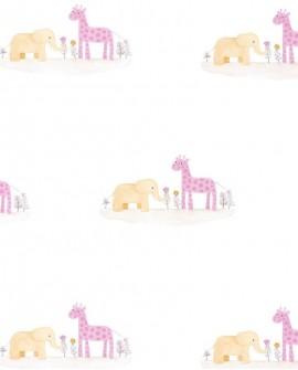 Papier peint enfant Jungle Casadeco Rose & Nino Marius et Candice Parme RONI85532242