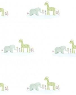 Papier peint enfant Jungle Casadeco Rose & Nino Marius et Candice Bleu/vert RONI85536132