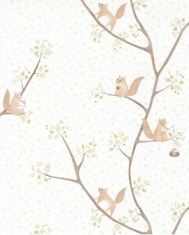 Papier peint enfant Casadeco Rose & Nino Oscar Vert RONI85617110