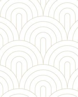 Papier peint Art Déco Esta Home Arches Blanc et doré 139215