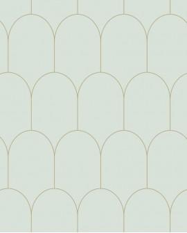 Papier peint Art Déco Esta Home Arches Vert et or 139202