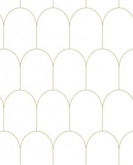 Papier peint Art Déco Esta Home Arches Blanc et or 139139