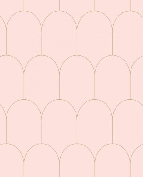 Papier peint Art Déco Esta Home Arches Rose et or 139201