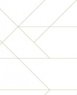 Papier peint Art Déco Esta Home Lignes Graphiques Blanc et or 139143