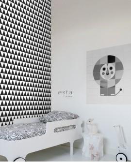 Papier peint géométrique Black, White and Gold Esta Home Triangle Noir et blanc 128845