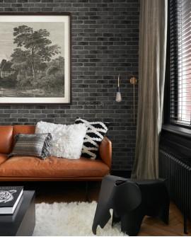 Papier peint Black, White and Gold Esta Home Brique Noir 139138