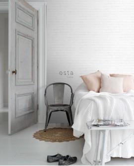 Papier peint Black, White and Gold Esta Home Brique Blanc 138533