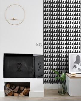 Papier peint Black, White and Gold Esta Home Triangle Noir et blanc 139077