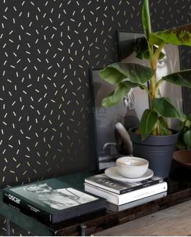 Papier peint Black, White and Gold Esta Home Confettis Doré 139128