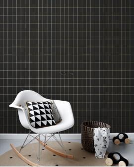 Papier peint Black, White and Gold Esta Home Carrelage Noir 139132