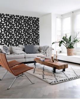Papier peint Black, White and Gold Esta Home Carrelage Noir 139087