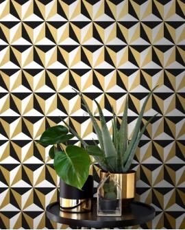 Papier peint Black, White and Gold Esta Home Triangle 139118