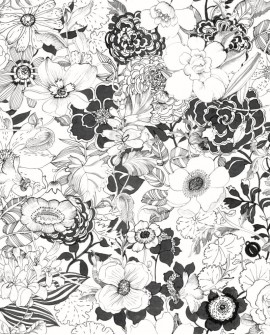 Papier peint Black, White and Gold Esta Home Flower Noir 138503