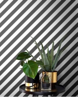 Papier peint Black, White and Gold Esta Home Rayures Noir et blanc 139112