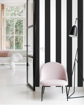 Papier peint Black, White and Gold Esta Home Rayures Noir et blanc 139111