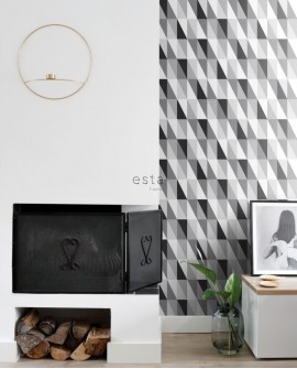 Papier peint Black, White and Gold Esta Home Triangle Noir, gris et blanc 139121