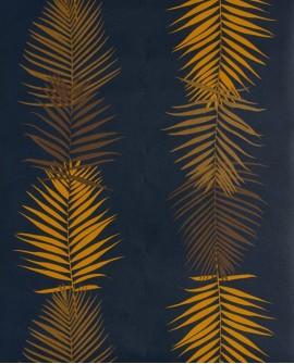 Papier peint exotique Lutèce Bensimon Feuilles Palme Navy 51173101