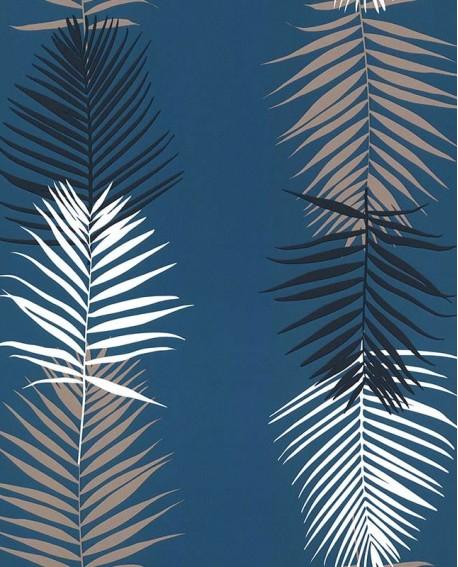 Papier peint exotique Lutèce Bensimon Feuilles Palme Bleu 51173111
