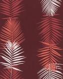 Papier peint exotique Lutèce Bensimon Feuilles Palme Brique 51173110
