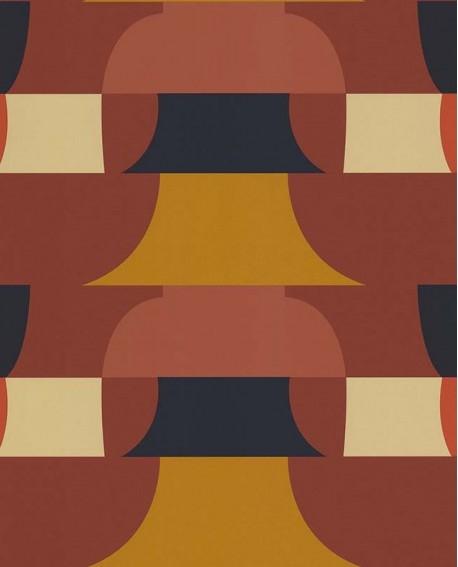 Papier peint géométrique Lutèce Bensimon Déco 70 S Noisette 51201008