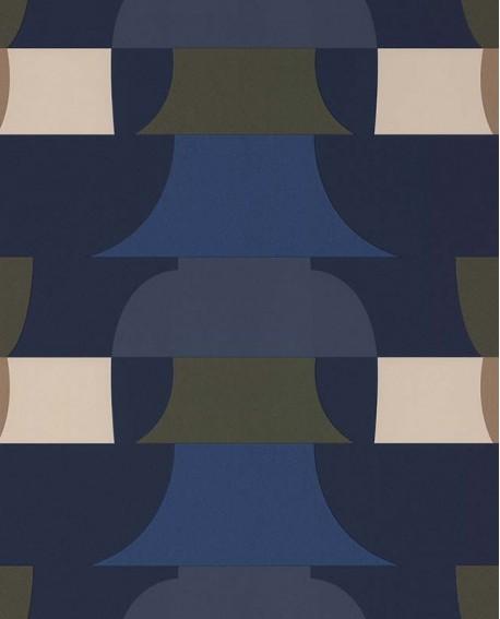 Papier peint géométrique Lutèce Bensimon Déco 70 S Bleu 51201001