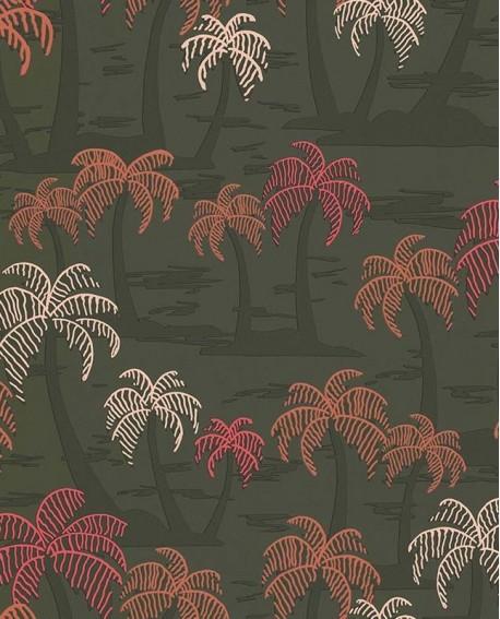 Papier peint jungle Lutèce Bensimon Palmiers fond Kaki 51200904