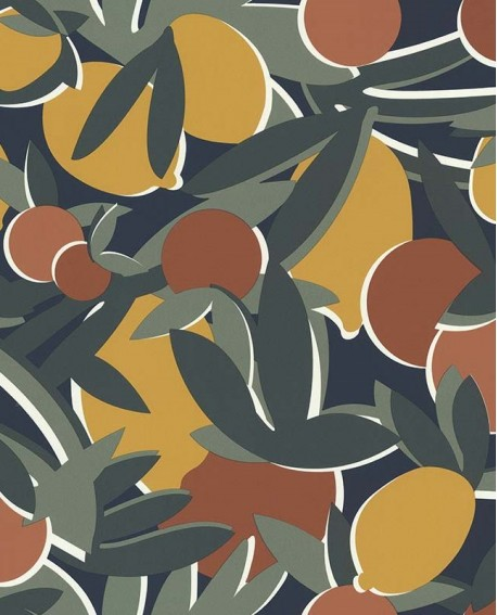 Papier peint exotique Lutèce Bensimon Agrumes Bleu 51200601