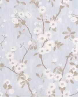Papier peint Tropical Delicacy Casadeco Springflower Taupe bleu DELY85396208