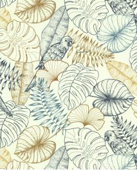 Papier peint tropical Lutece Séjours et Chambres Perroquet Graphique Bleu 51193401