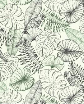 Papier peint tropical Lutece Séjours et Chambres Perroquet Graphique Vert 51193409
