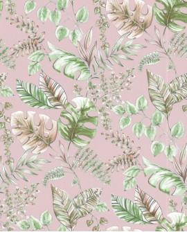 Papier peint tropical Lutece Séjours et Chambres Plantes Vert et rose 51196203