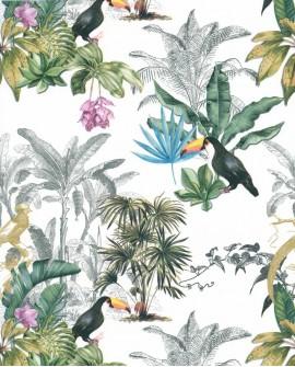 Papier peint tropical Lutece Séjours et Chambres Feuillages et Toucans 51194704