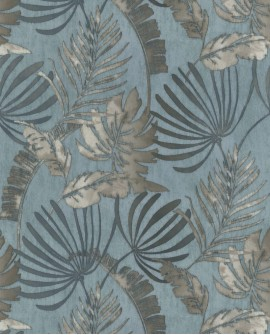 Papier peint tropical Lutece Séjours et Chambres Feuilles tropicales Bleu 11191401