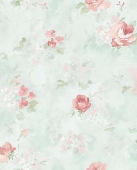Papier peint Lutece Abby Rose 4 Rose aquarelle Vert AB42417